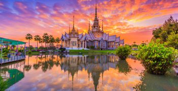 36738446 - wat thai, sunset in temple thailand,they are public domain or treasure of buddhism, no restrict in copy or use