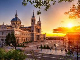 Sunset view of Cathedral Santa Maria la Real de La Almudena in Madrid, Spain