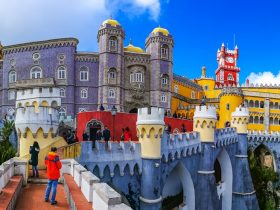 Closeup view of the historical Pena Palace of Sintra in Lisbon, Portugal