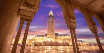Hassan II Mosque at sunset, Casablanca, Morocco